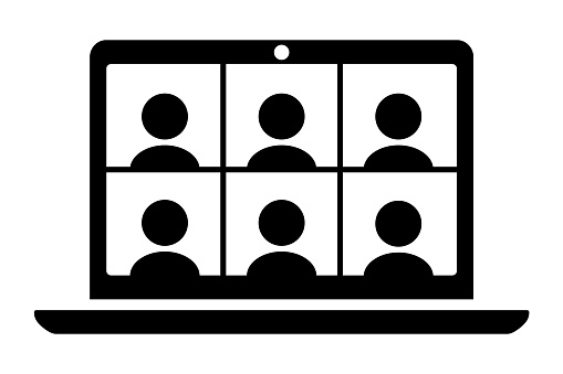 Laptop computer displaying six people icons.