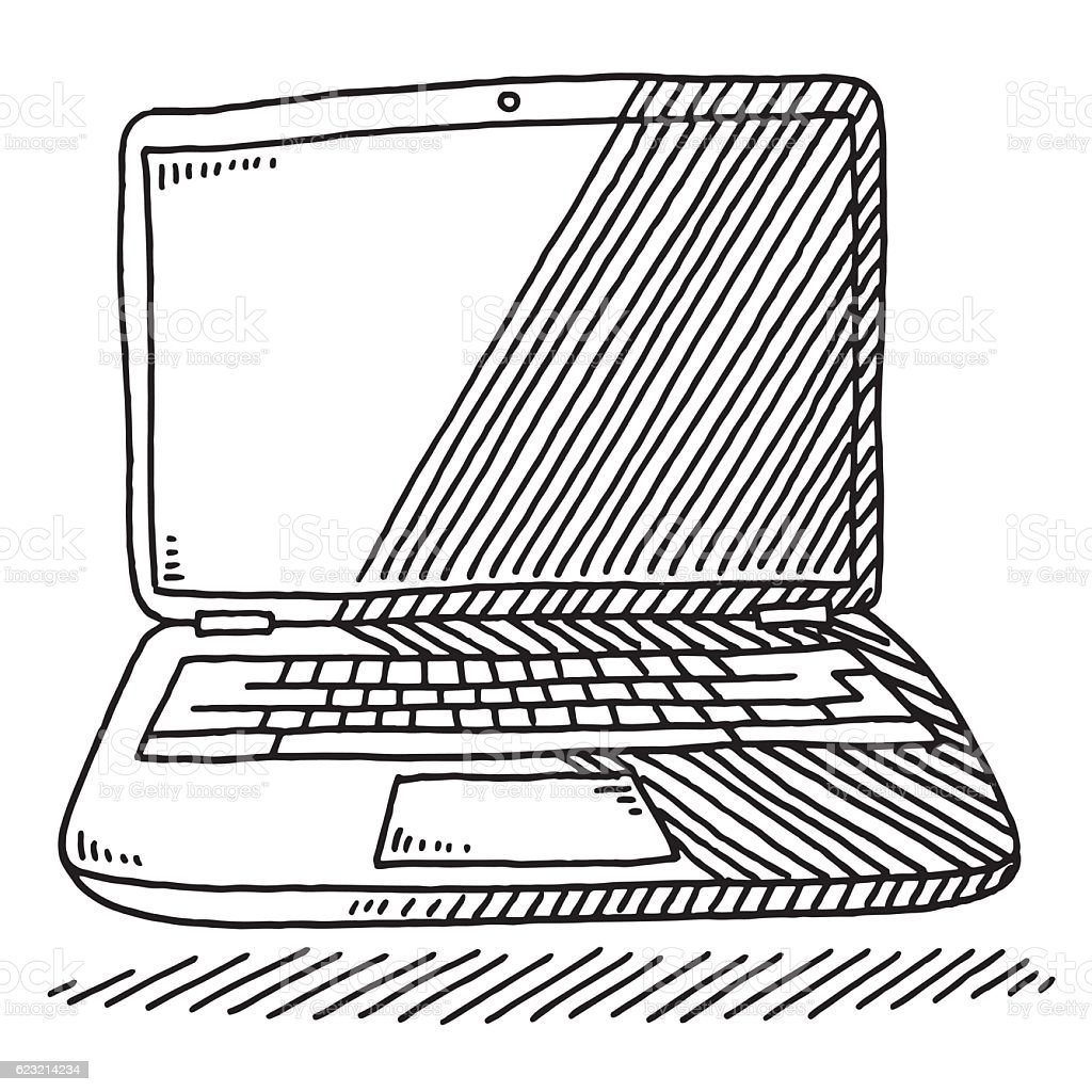 Line Art Laptop : Laptop computer drawing stock vector art more images of