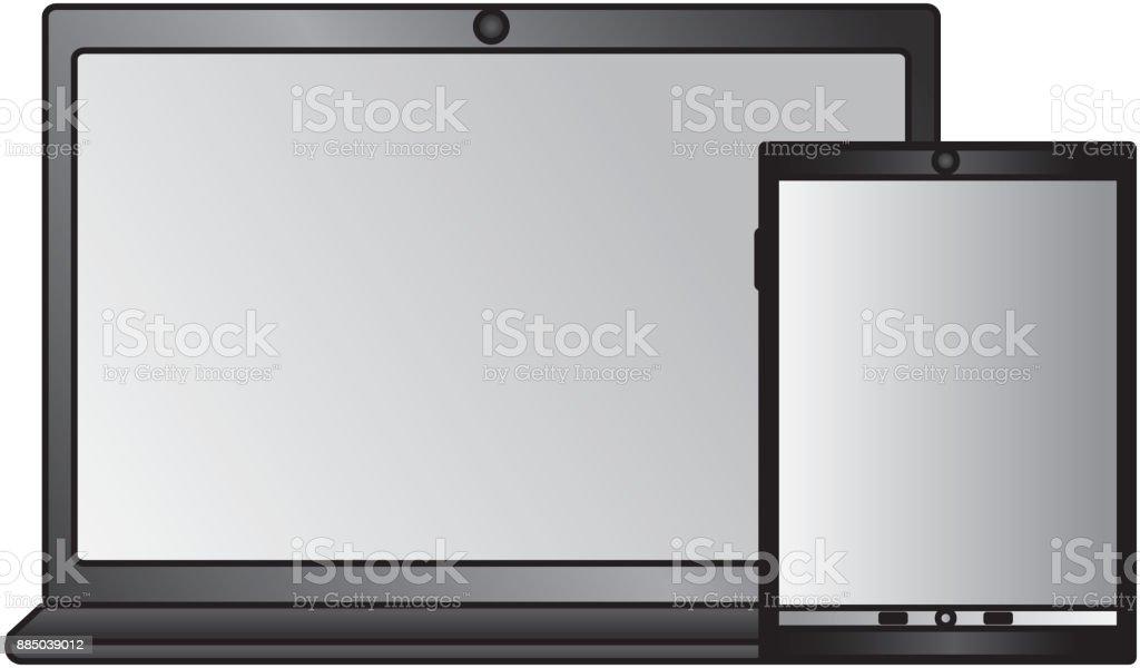 laptop computer icon image vector art illustration