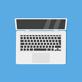 istock Laptop computer. Isolated illustration blue background. Digital vector illustration. Flat isometric illustration. 1178429115