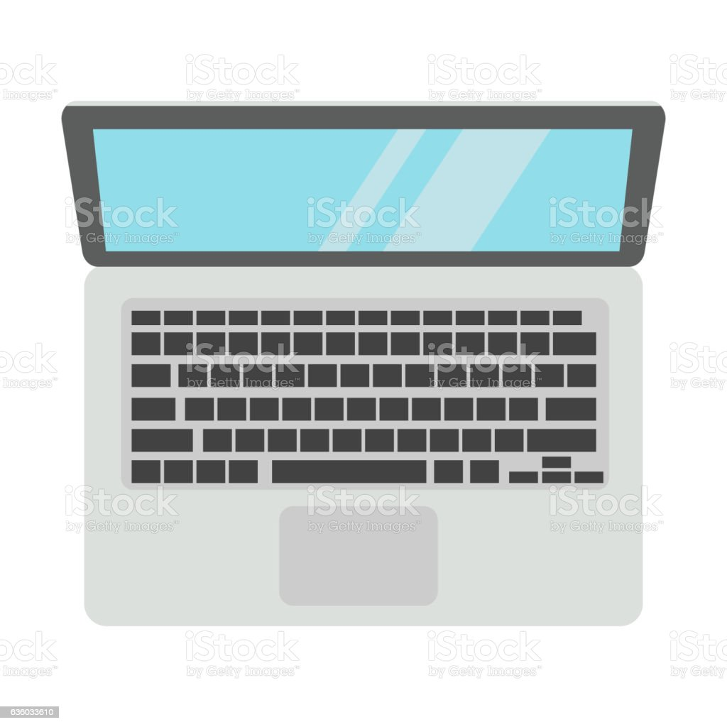Laptop computer isolated vector art illustration