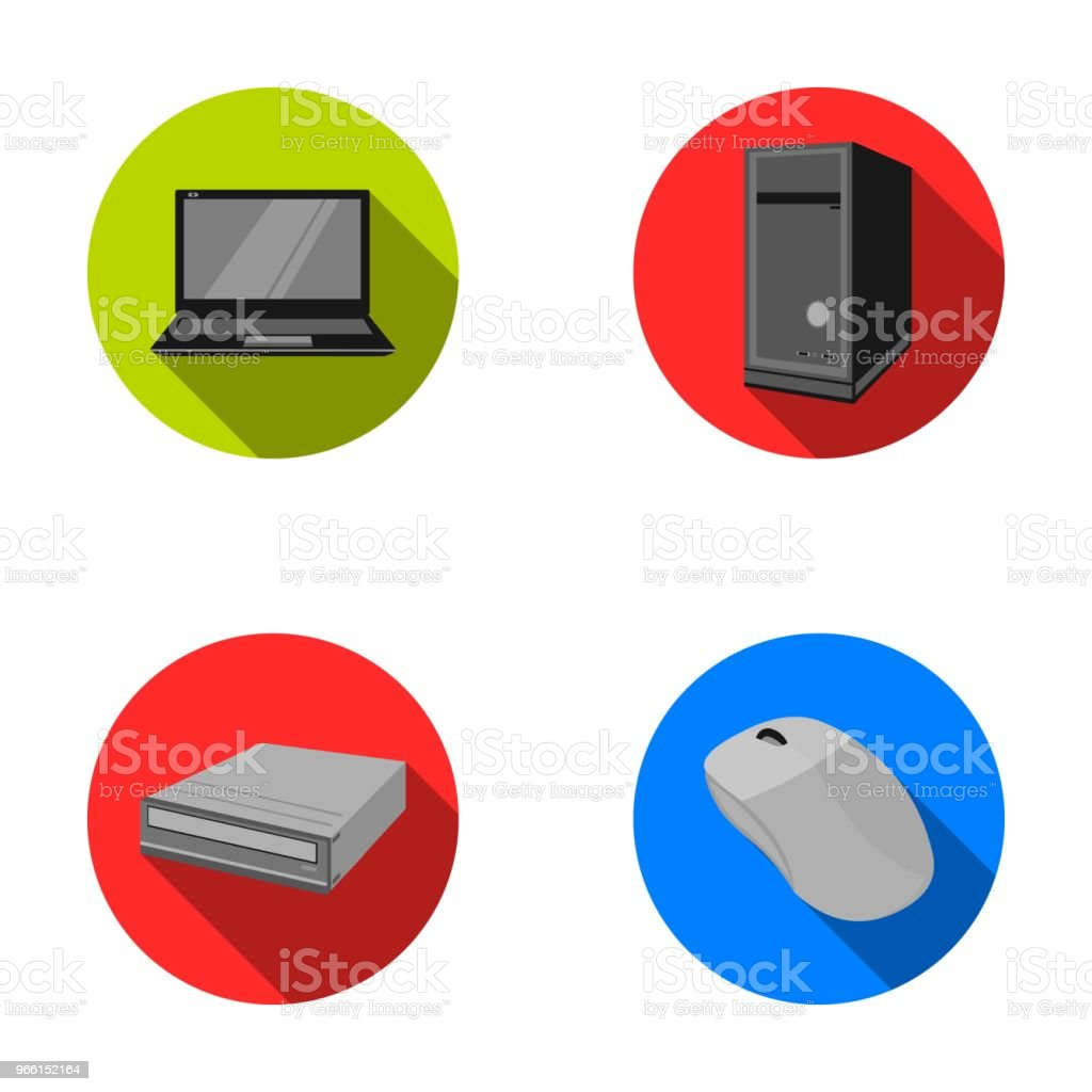 Laptop, computer mouse and other equipment. Personal computer set collection icons in flat style vector symbol stock illustration web. - arte vettoriale royalty-free di Attrezzatura