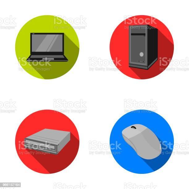 Laptop Mouse Per Computer E Altre Apparecchiature Le Icone Della Raccolta Dei Set Di Personal Computer In Stile Piatto Vettoriale Simboleggiano Il Web Dellillustrazione Stock - Immagini vettoriali stock e altre immagini di Attrezzatura