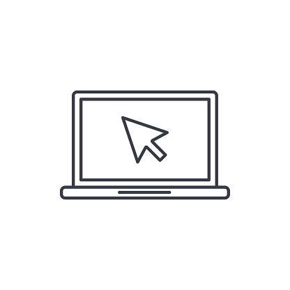 laptop computer, notebook and cursor click thin line icon. Linear vector symbol