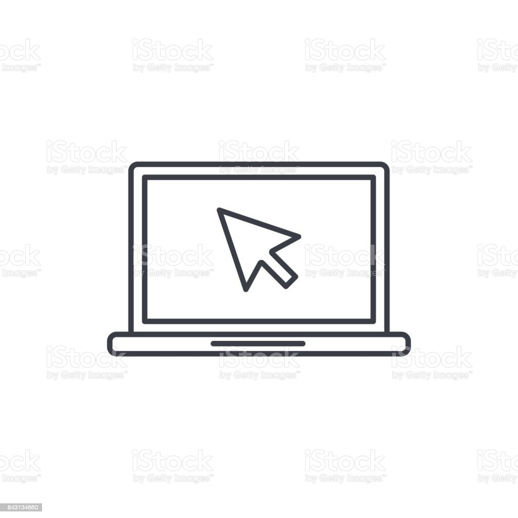 laptop computer, notebook and cursor click thin line icon. Linear vector symbol vector art illustration