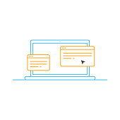 istock Laptop Computer on Open Web Page Line Icon. 1227598917