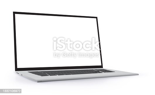 istock Laptop Computer Perspective View Mockup. Notebook PC realistic vector illustration template with transparent background. 1332105972