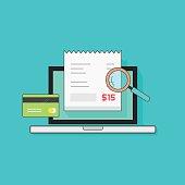 Laptop computer receipt, credit card, magnifier, concept of bills payment