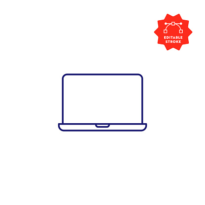 Laptop Computer Single Line Icon with Editable Stroke and Pixel Perfect.