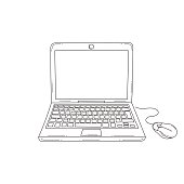 Laptop computer with blank screen, front view, hand drawn vector illustration, isolated on white background.