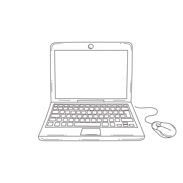 Laptop computer vector illustration Laptop computer with blank screen, front view, hand drawn vector illustration, isolated on white background. contour drawing stock illustrations