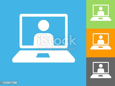 istock Laptop Computer Virtual Call Icon 1223817298