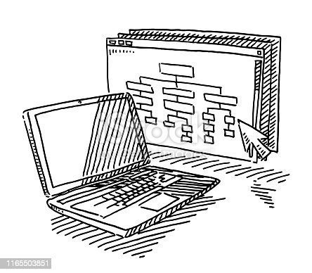 Hand-drawn vector drawing of a Website Development concept. A Laptop Computer, a website with a organization chart and a cursor. Black-and-White sketch on a transparent background (.eps-file). Included files are EPS (v10) and Hi-Res JPG.