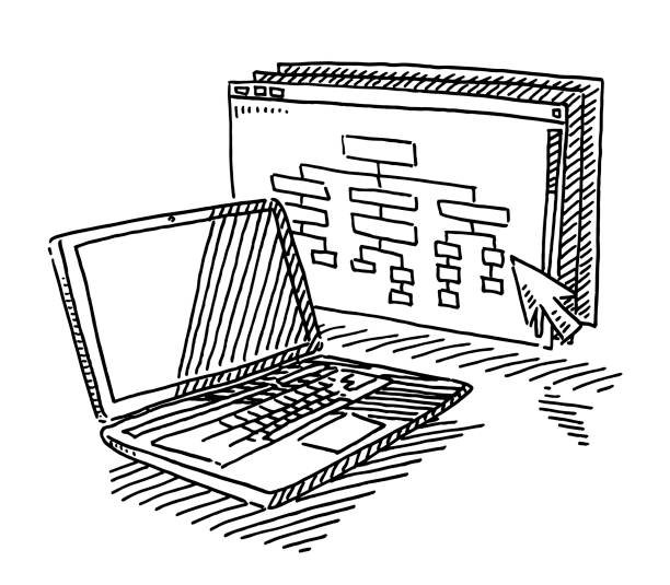 Laptop Computer Website Development Drawing Hand-drawn vector drawing of a Website Development concept. A Laptop Computer, a website with a organization chart and a cursor. Black-and-White sketch on a transparent background (.eps-file). Included files are EPS (v10) and Hi-Res JPG. website design stock illustrations
