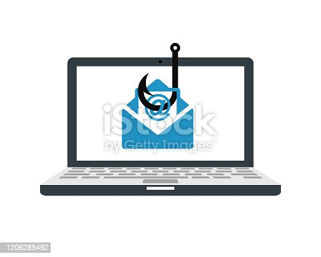 Laptop computer with a fishing hook phishing for private identity information and personal financial data vector illustration