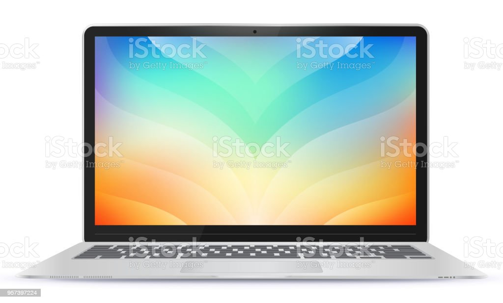 Laptop Computer With Colorful Abstract Screen Vector Illustration vector art illustration
