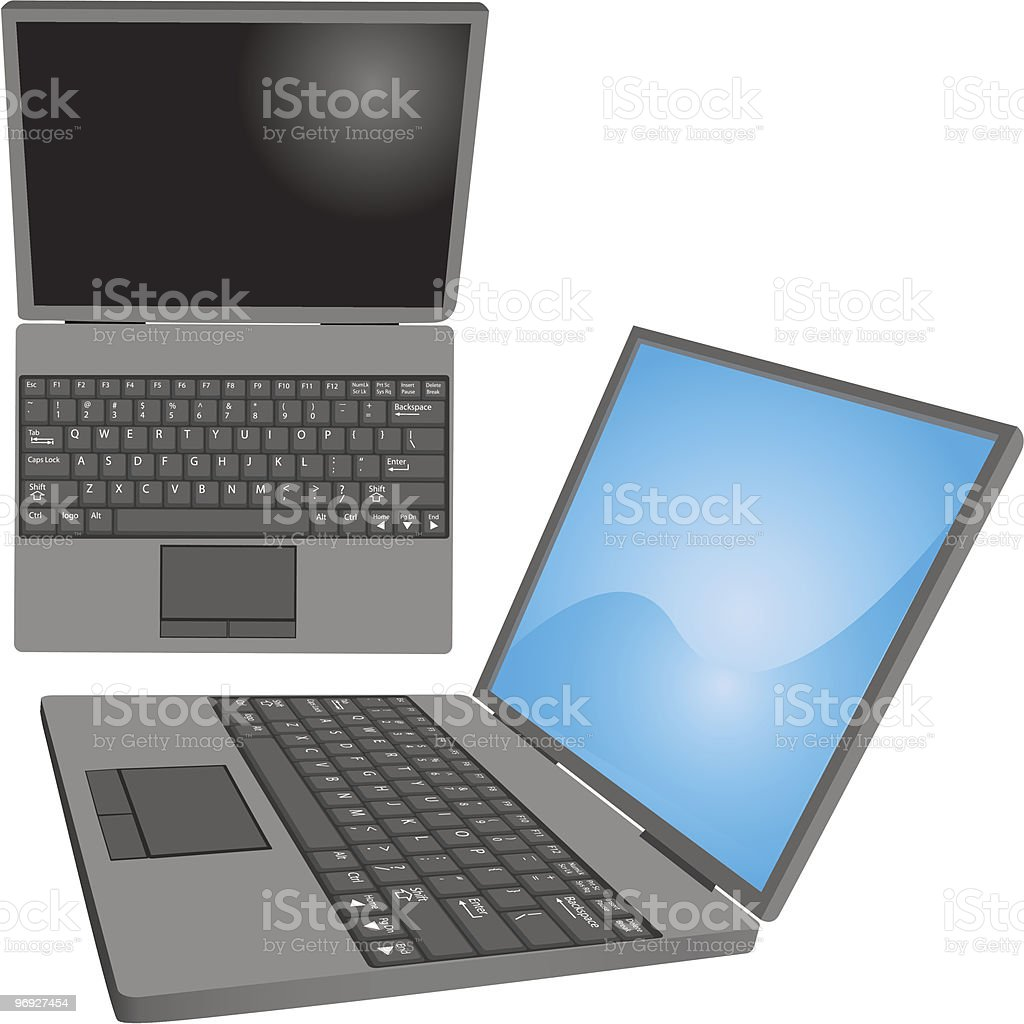 Laptop computer with labeled keys top side views royalty-free laptop computer with labeled keys top side views stock vector art & more images of clip art