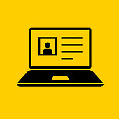 Laptop Computer with Personal Profile Icon. This 100% royalty free vector illustration is featuring a yellow flat background with the main icon depicted in black.