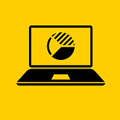 Laptop Computer with Pie Chart Icon. This 100% royalty free vector illustration is featuring a yellow flat background with the main icon depicted in black.
