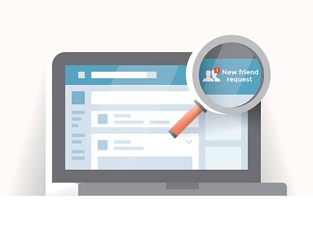 ilustraciones, imágenes clip art, dibujos animados e iconos de stock de laptop computer with social network notification - new friend request - zoom call