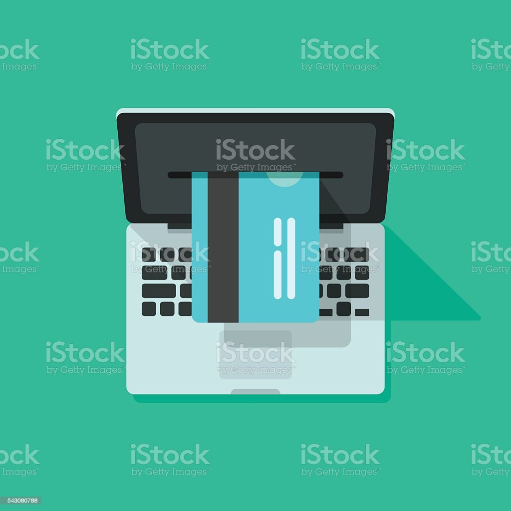 Laptop credit card processing vector, concept of internet online shopping vector art illustration
