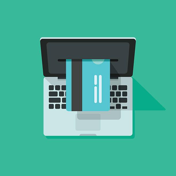 Laptop credit card processing vector, concept of internet online shopping vector art illustration