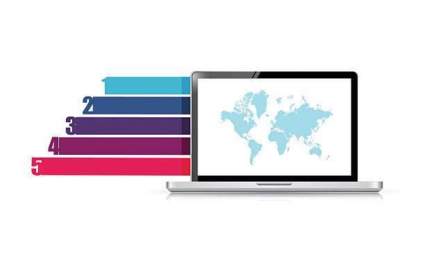 laptop design business graph banners template illustration desig