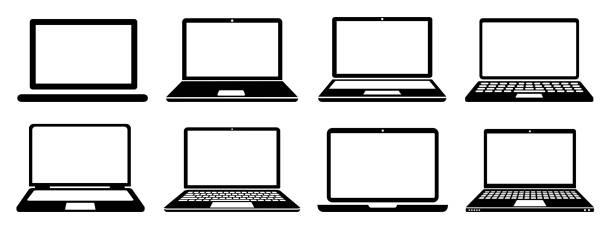 bildbanksillustrationer, clip art samt tecknat material och ikoner med ikonskylt för bärbar enhet, kontorsdator - lagervektor - laptop