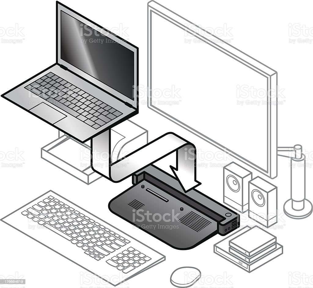 Laptop Docking royalty-free laptop docking stock vector art & more images of attached
