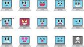 Laptop emoticons.