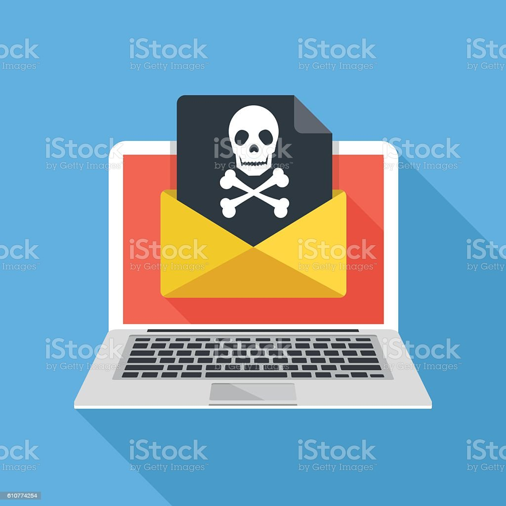 Laptop, envelope, document, skull icon. Virus, malware, email fraud vector art illustration