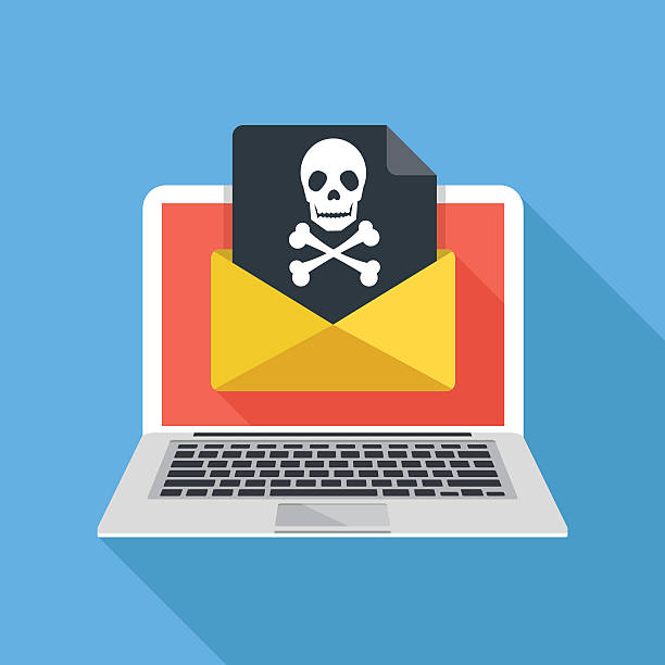 Laptop, envelope, document, skull icon. Virus, malware, email fraud Laptop and envelope with black document and skull icon. Virus, malware, email fraud, e-mail spam, phishing scam, hacker attack concept. Trendy flat design graphic with long shadow. Vector illustration hacker stock illustrations