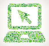 Laptop On Green Environmental Conservation and Nature royalty free vector interface icon pattern. This royalty free vector art features nature and environment icon set pattern. The major color is green and icons include trees, leaves, energy, light bulb, preservation, solar power and sun. Icon download includes vector art and jpg file.