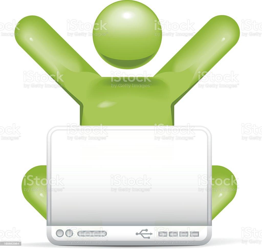 Laptop Eureka: Stickman 2.0 royalty-free stock vector art