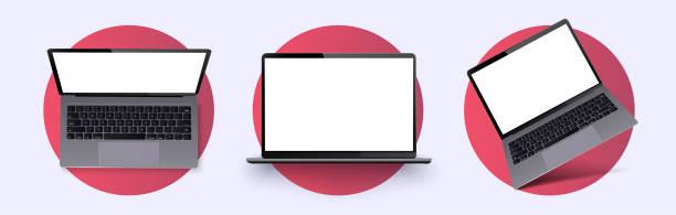 bildbanksillustrationer, clip art samt tecknat material och ikoner med laptop ram mindre tom skärm. realistisk bärbar dator i olika lägen, vinkel. mockup allmän enhet.  telefonram med tom skärm isolerad. realistisk enkel isolerad 3d-vektoruppsättning. mobil - laptop