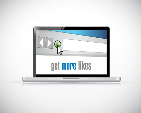 Laptop get more likes concept illustration