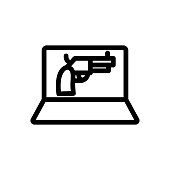 Laptop gun selling icon vector. Thin line sign. Isolated contour symbol illustration