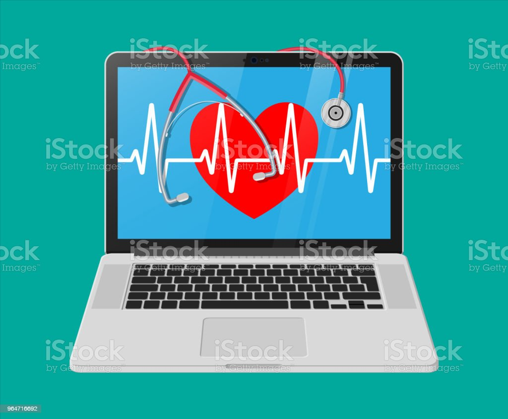 Laptop, heart shape with pulse line, stethoscope royalty-free laptop heart shape with pulse line stethoscope stock vector art & more images of cardiologist