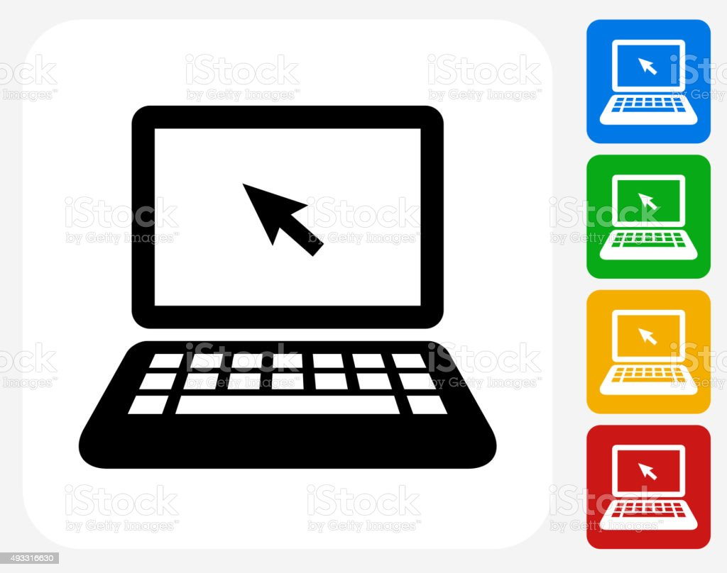 laptop icon flat graphic design stock vector art amp more