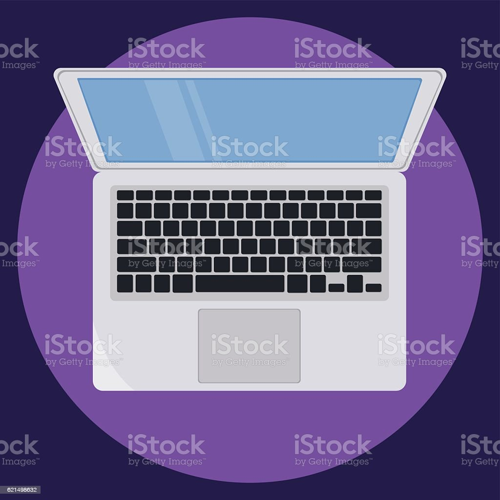 Laptop icon on violet background. Flat vector illustration. EPS10 laptop icon on violet background flat vector illustration eps10 – cliparts vectoriels et plus d'images de carré - composition libre de droits