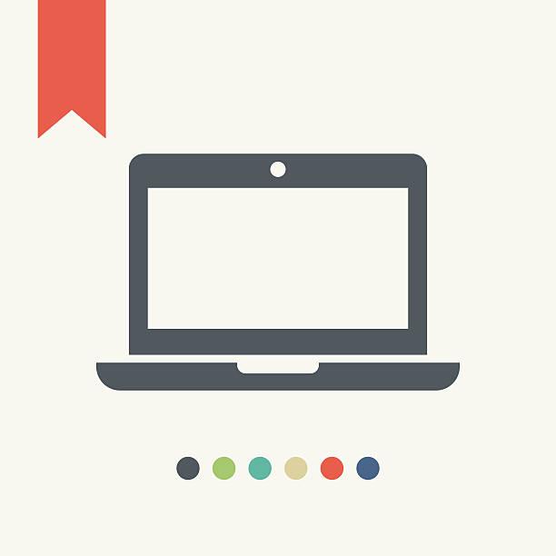 illustrazioni stock, clip art, cartoni animati e icone di tendenza di icona di computer portatile - laptop