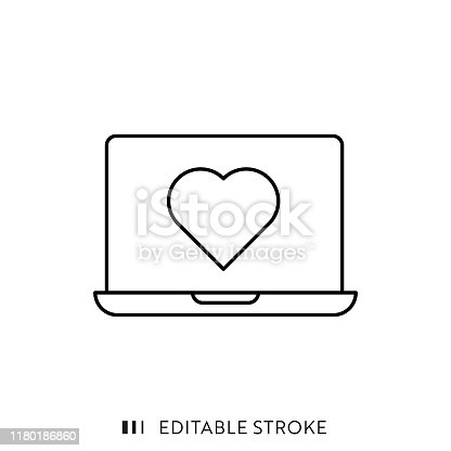 Heart Shape on Laptop Screen Icon with Editable Stroke and Pixel Perfect.