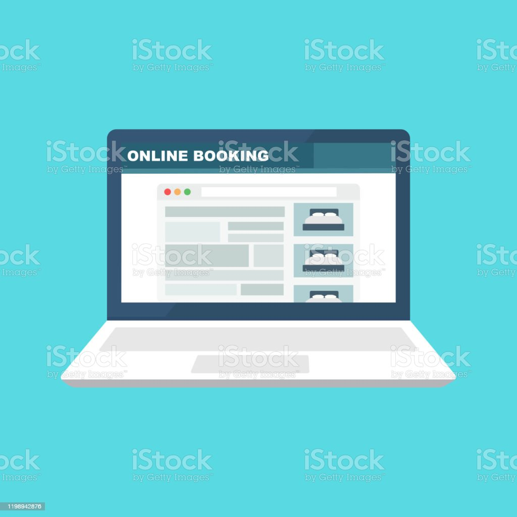 Laptop Icon With Online Booking Flat Style Trend Modern Simple Graphic Design Concept Of Reservation Room Or Bed In Hotel Or Hostel For Family Holidays Or Business Stock Illustration Download Image