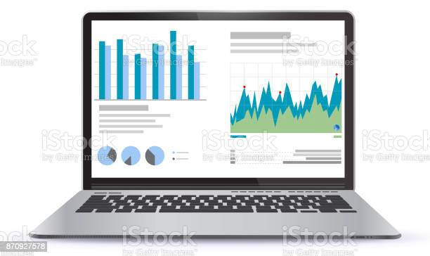 Laptop illustration with financial charts and graphs screen vector id870927578?b=1&k=6&m=870927578&s=612x612&h=mdf01dh5dc emhgeznv2xo7gs4wudlmhylin5v0a72m=