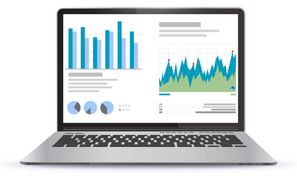 Laptop Illustration With Financial Charts and Graphs Screen Laptop Illustration With Financial Charts and Graphs Screen. Easy editable EPS file. white background stock illustrations