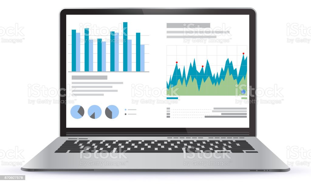 Laptop Illustration With Financial Charts and Graphs Screen – artystyczna grafika wektorowa