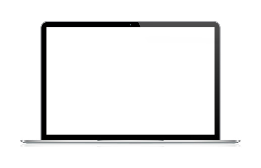 Laptop In Black And Silver Color With Reflection, Realistic Vector Illustration