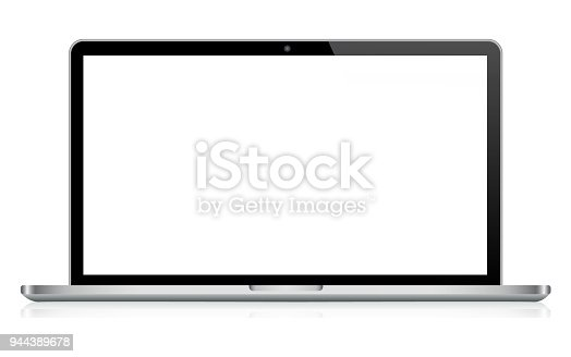 Vector Laptop in Black and Silver Color with Reflection