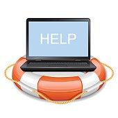Laptop in lifebuoy