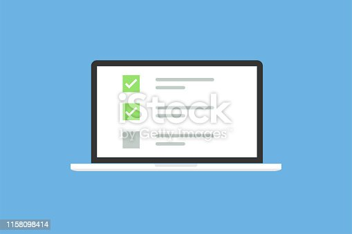 Laptop in trendy flat style with checkbox screen. List with checkbox and marks. Notebook on blue background. EPS 10